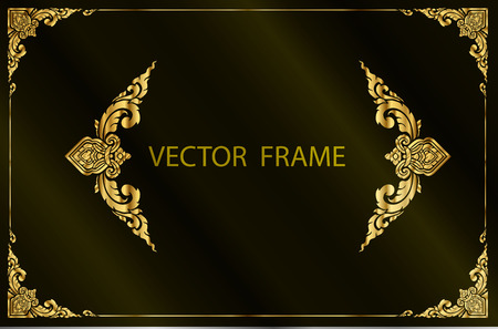 Illustration for Thai art with Golden border frame - Royalty Free Image
