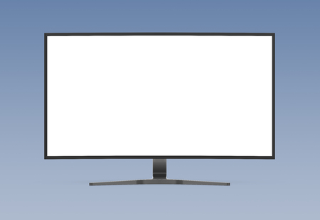 Modern computer monitor mockup isolated on grey background 3d rendering