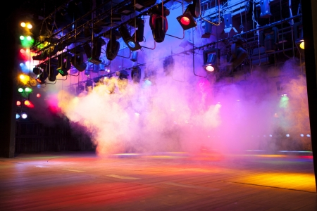 Photo for Stage lights on a console, smoke - Royalty Free Image