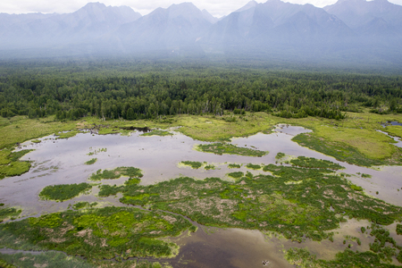 Foto de The rivers and lakes of Eastern Siberia from the altitude. A view from the cockpit of the helicopter to the lakes and the river in the Siberian taiga. View from the cockpit of a flying helicopter over the Siberian taiga lakes and rivers. - Imagen libre de derechos