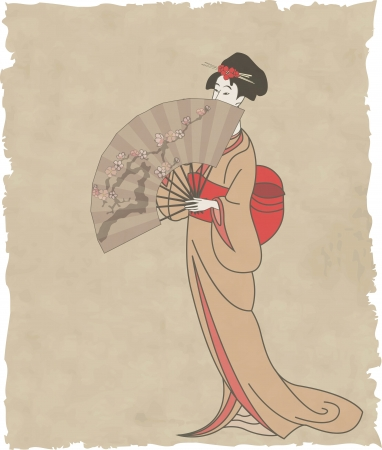 Japanese girl with a fan on old paper -  illustration