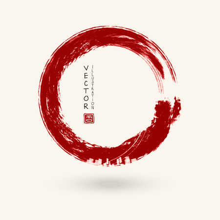 Ilustración de Red ink round stroke on white background. Japanese style. Vector illustration of grunge circle stains - Imagen libre de derechos