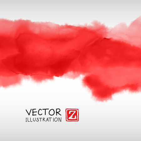Illustrazione per Abstract ink background. Japanese style. Red, blood, white ink in water. Vector illustration. - Immagini Royalty Free