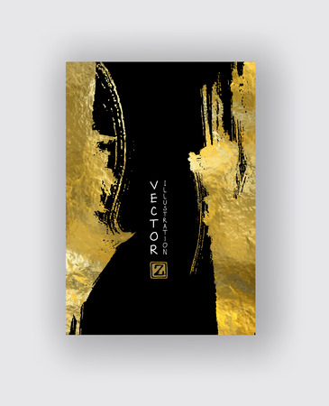 Photo for Vector Black and Gold Design Templates for Brochures, Flyers, Mobile Technologies, Applications, Online Services, Typographic Emblems, Logo, Banners and Infographic. Golden Abstract Modern Background. - Royalty Free Image