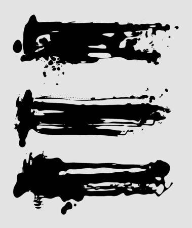 Ilustración de Abstract vector ink brush strokes set. Grunge design elements. - Imagen libre de derechos