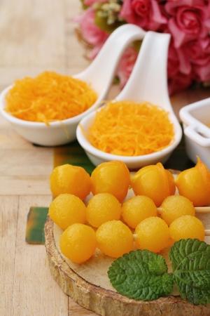 Photo for golden sweet is egg yolk  ,Thai dessert - Royalty Free Image