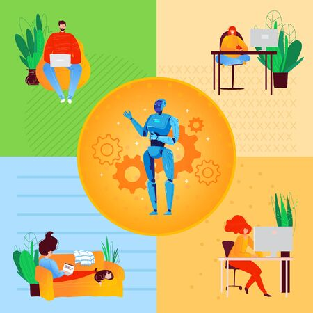 Illustrazione per Freelance people self-isolation at home cartoon character vector illustration. Laptop on sofa remote freelance work, cool job, remote workers labor set. - Immagini Royalty Free