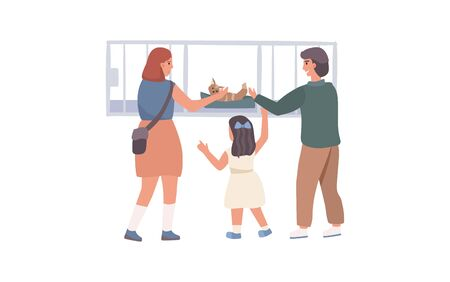 Illustrazione per Woman give to child and mother a cat concept and vector illustration on white background. Male and female characters. Animal nursery. - Immagini Royalty Free