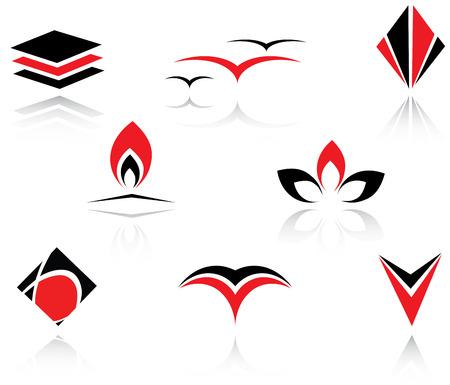 Set of red and black symbols for branding
