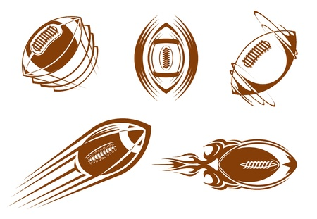Rugby and american football symbols for mascots or sports design