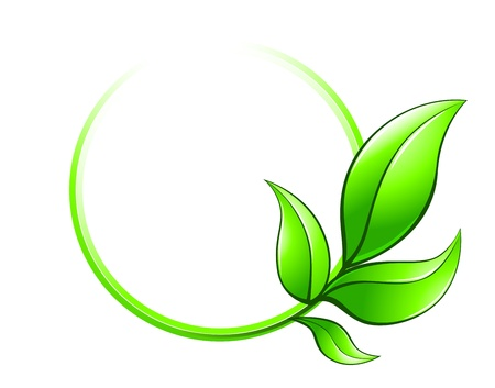 Illustration pour Green leaves frame as ecology symbol isolated on white background - image libre de droit
