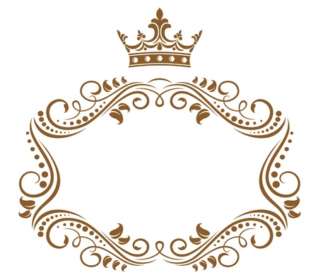 Foto de Elegant royal frame with crown isolated on white background - Imagen libre de derechos