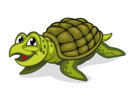 Green smiling turtle reptile in cartoon style