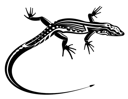 Black lizard with natural decorative ornament for tattoo