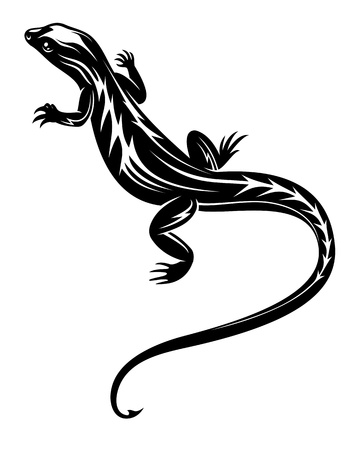 Black fast lizard reptile for tattoo or environment design