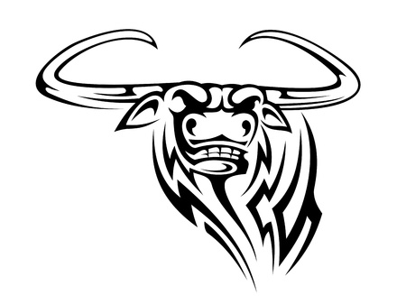 Buffalo mascot isolated on white background for tattoo