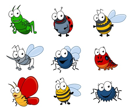 Set of cartoon insects isolated on white background