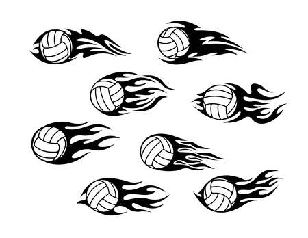 Set of volleyball sports tattoos with tribal flames