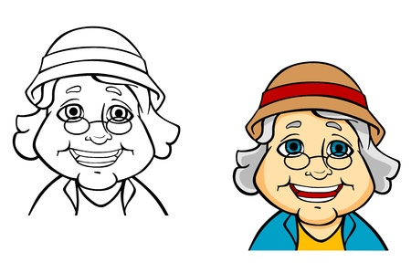 Illustration for Happy senior grandmother in cartoon style for concept of active life - Royalty Free Image