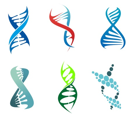 Illustration pour DNA and molecule symbols set for chemistry or biology concept design. Editable illustration - image libre de droit