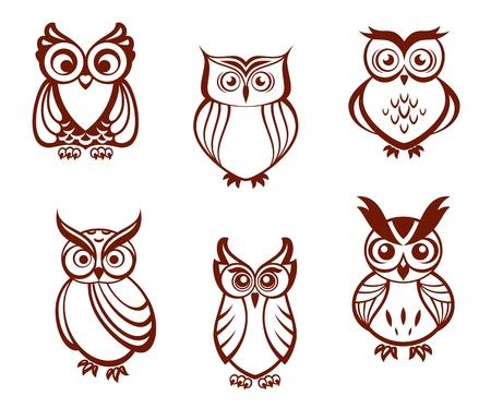 Ilustración de Set of cartoon owls for wisdom or education concept design. All birds are isolated on white background - Imagen libre de derechos