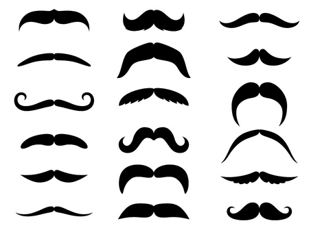 Illustrazione per Black moustaches set isolated on white background - Immagini Royalty Free
