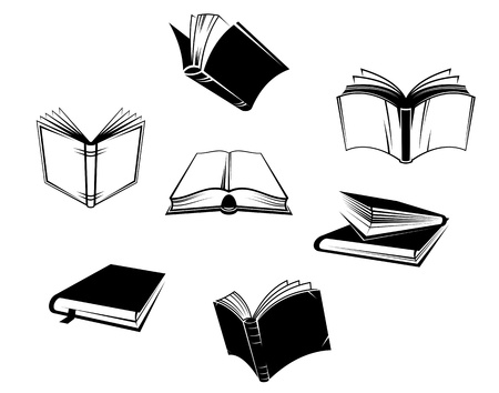 Illustration pour Books icons and symbols set isolated on white background - image libre de droit