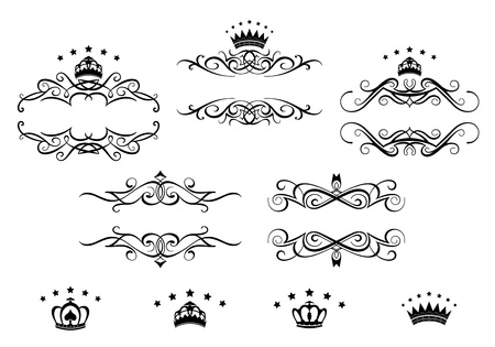 Ilustración de Retro frames set with royal crowns for heraldry design - Imagen libre de derechos