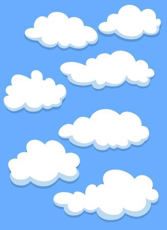 Illustration pour Cartoon white clouds on blue sky for design - image libre de droit