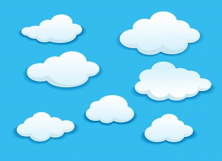 Illustration pour White clouds set on blue sky for weather or another design - image libre de droit