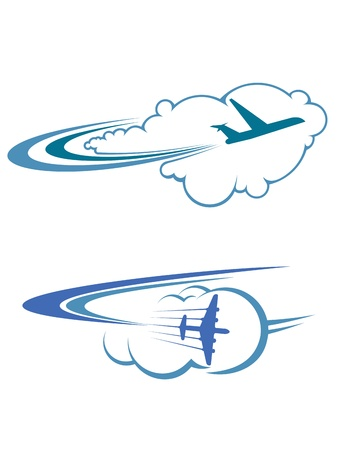 Illustration pour Flying airplanes in sky for travel and tourism design - image libre de droit