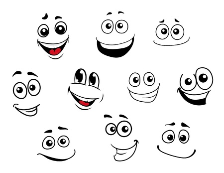 Illustration pour Funny cartoon emotional faces set for comics design - image libre de droit