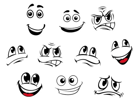 Illustration pour Cartoon faces set with different emotions for comics - image libre de droit