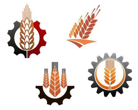 Illustration pour Agriculture symbols set with cereal ears and machine gears - image libre de droit