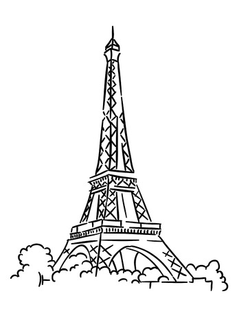 Illustration pour Eiffel tower in Paris, France. Sketch vector illustration - image libre de droit