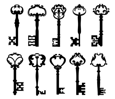 Illustration pour Vintage keys isolated on white for retro concept design - image libre de droit