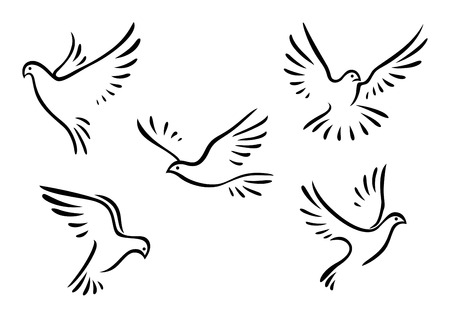 Illustration pour Doves and pigeons set for peace concept and wedding design - image libre de droit