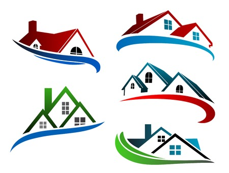 Illustration for building symbols with home roofs for real estate business design - Royalty Free Image