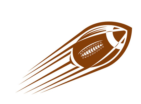 American football or rugby ball flying through the air  at great speed leaving a motion trail