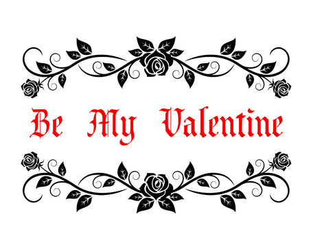 Ilustración de Be My Valentine greeting header with vintage text in a pretty floral frame with trailing roses, vector illustration - Imagen libre de derechos