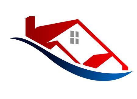 Illustration pour Cartoon vector illustration depicting an Eco house icon outline of a modern red home - image libre de droit