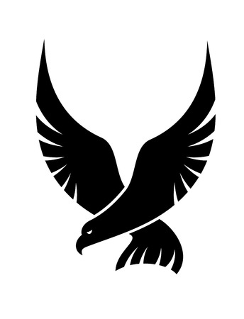 Illustration pour Black and white cartoon swooping falcon  with outspread wings coming in to catch its prey, isolated on white - image libre de droit