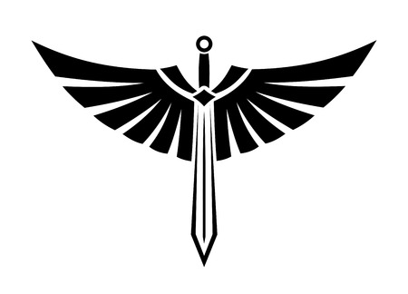 Ilustración de Black and white vector illustration of a winged sword with elegant outspread wings and feathers for tattoo design - Imagen libre de derechos
