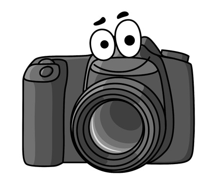 Illustration pour Cartoon vector illustration of a little black digital camera with a smiling face isolated on white - image libre de droit