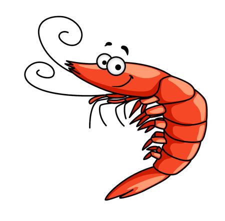 Ilustración de Happy red prawn or shrimp with curly feelers and a smiling face, cartoon vector illustration - Imagen libre de derechos
