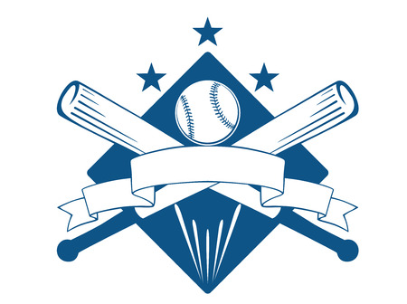 Illustration pour Championship or league baseball emblem with a blank wavy ribbon banner with copyspace over crossed bats and a ball superimposed on a diamond with stars, blue and white - image libre de droit