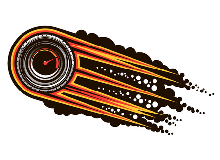 Ilustración de Red hot speeding motorsports icon with a tyre inset with a speedometer trailing flames and smoke, cartoon illustration - Imagen libre de derechos