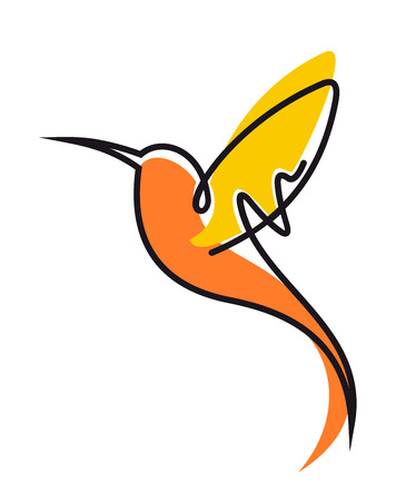 Illustration pour Doodle sketch of a colorful flying hummingbird in yellow and orange with outspread wings and a long curviong beak, side view - image libre de droit