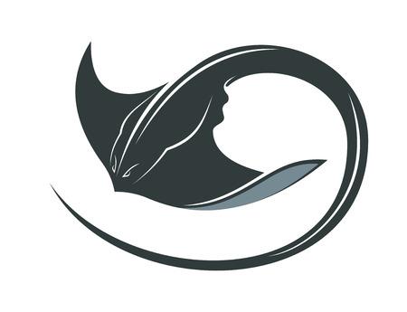 Ilustración de Swimming manta ray or sting ray with a curly tail and outspread pectoral fins for sealife concept - Imagen libre de derechos