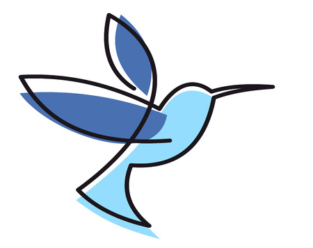 Illustration pour Stylized blue hovering hummingbird with a black outline isolated on white - image libre de droit